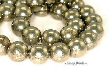 10MM PALAZZO IRON PYRITE GEMSTONE ROUND 10MM LOOSE BEADS 7.5""