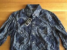Gitman Bros Vintage NEW Navy Blue Paisley Western Cotton Shirt M Medium $195 NWT