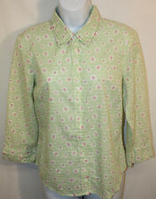 Womens Ladies Odille Green Pink Floral Textured Button Up Blouse Top Shirt Sz 10