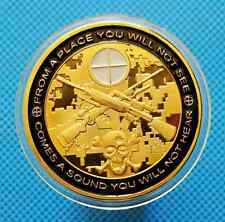 SNIPER POLICE MILITARY US ARMY ONE SHOT ONE KILL 24CT GOLD PLATED CHALLENGE COIN