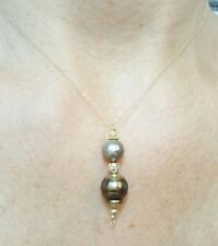 Solid 14k yellow gold bead and brown Tahitian pearl pendant necklace