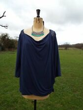 Fab GEORGE Navy Blue Lace Detail Stretch Top & Necklace Plus Size 20 BNWT RP £16