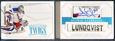 2013-14 NATIONAL TREASURES TWIGS HENRIK LUNDQVIST NAMEPLATE 1/1 AUTO GU STICK