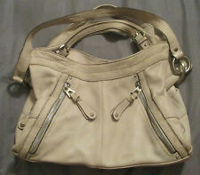 Makowsky Genuine Leather Cream Medium Hobo Purse