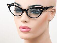 Cat Eye Glasses Triple Leaf Pinup Vintage Style Clear Black K595 CL