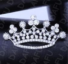 Rhinestone Brooch Pin Crystal Silver Crown Breastpin Wedding Women Charming
