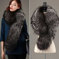 GENUINE REAL LONG SILVER FOX FUR SCARF STOLE COLLAR WRAP SHAWL