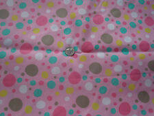 Cute Bubbles on Pink  Cotton Twill Fabric