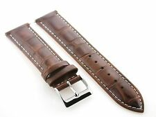 20MM LEATHER WATCH BAND STRAP FOR ULYSSE NARDIN LIGHT BROWN WHITE STITCHING