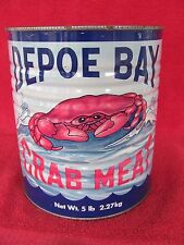 Vintage Depoe Bay Fish Co Crab Meat Tin Can Newport Oregon No Oyster Advertising