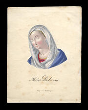 santino incisione 1800 MATER DOLOROSA + MANUFATTO ST.POLTEN dip.a mano PACHMAYER