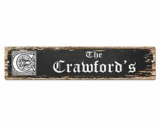 SP0752 The CRAWFORD'S Family name Sign Bar Store Shop Cafe Home Chic Decor