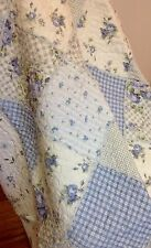 Shabby Chic French Country Throw Quilt Rug Blanket Blue Off White Patchwork