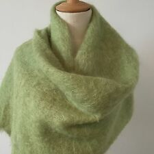 BEAUTIFUL VINTAGE MOHAIR SCARF/SHAWL Apple Green c1960