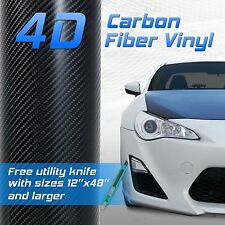 "48""x72"" 4x6 ft 4D Professional Grade Black Carbon Fiber Vinyl Wrap Bubble Free"