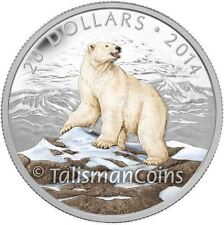 Canada 2014 Iconic Canadian Animals #1 Arctic Polar Bear $20 Color Silver Proof