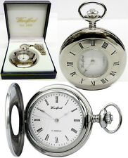 Woodford Half Hunter Pocket Watch, 17 Jewel, Chrome Hands, Free Engraving (1080)