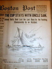 9 1893 display newspapers AMERICAS CUP YACHT RACE won by VIGILANT over VALKYRIE