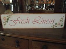 FRESH LINENS   HP Shabby Roses  Cottage Chic Primitive Wood Sign