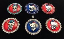 HELLO KITTY LA DODGERS 27mm GLASS DOME FLATBACK CABOCHON RHINESTONE 6 pcs Z