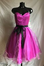 Party Prom Evening Cocktail Dress Size 8 Pink Black Lavender by Crystal Breeze