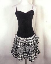 vtg 80s Roberta Prom Homecoming Cocktail Dress Minidress black/white crinkle 5/6