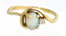 OPAL AND DIAMOND PETITE OVAL 14K YELLOW GOLD RING, SIZE 3.5
