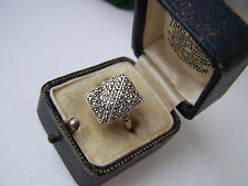 GORGEOUS GENUINE VINTAGE SOLID STERLING SILVER MARCASITE RING SIZE O 7 RARE