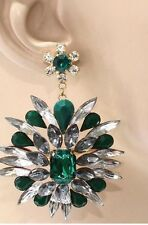 "2.8"" Green Emerald Gold Long Austrian Crystal Pageant Bridal Dangle Earrings"