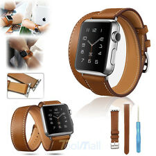 Genuine Leather Watch Band Double Tour Bracelet Strap For iWatch 38mm+Tool