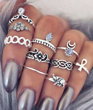 10pcs Women Punk Retro Knuckle Rings Tribal Hippie Elephant Moon Joint Ring Set