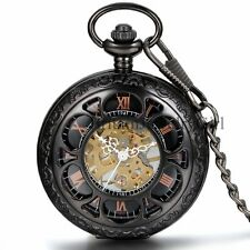 Magic Roman Number Half Hunter Hollow Skeleton Hand Wind Mechanical Pocket Watch