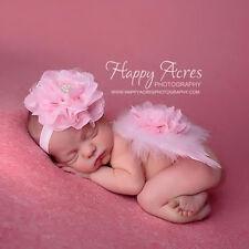 Baby Foto Props Kostüm  Spitze Blumen Perlen Stirnband & Feder Engel Flügel DODE