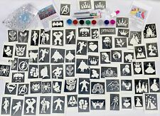 GLITTER TATTOO KIT PRINCESS SUPERHERO boy girl 90 large stencils 8 glitters glue