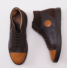 NIB $1695 KITON Chocolate Brown Calf Leather High-Top Sneakers US 9 D Shoes