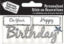 Silver joyeux anniversaire diy carte de vœux toppers personalise cartes vous-même