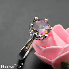 Rainbow Round Mystical Fire Topaz 925 Sterling Silver Fashion Ring Size 9