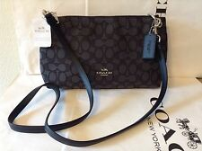 NWT Coach Outline Signature Charley Cross-body Bag Black / Smoke Black F55663