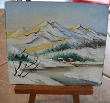 Vtg Miniature Painting & Display Easel Winter Scene Mountains & Stream Germany