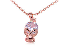 Rose Gold Tone Star Skull Face Diamond Element Pendant Chain Fashion Necklace