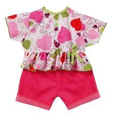 Schwenk Puppenkleidung, pink Jeanshose mit buntem Oberteil für 42 - 45 cm Puppen