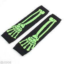 Unisex Black Green Skeleton Elastic Fingerless Arm Warmers Elbow Long Gloves-New