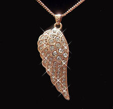 18K Yellow Gold Plated Ladies Angel Wing Pendant Necklace Use SWAROVSKI CRYSTAL
