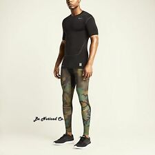 Nike Pro Combat Hypercool Compression Woodland Camo Tights 2XL Green Black New