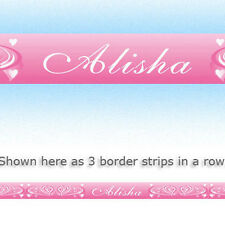 WAVY HEARTS PINK personalised bedroom wallpaper WALL BORDER STRIPS with a name