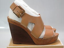 MICHAEL KORS Women's CARLA Platform Wedge TAN Leather Size US 11 M NEW IN BOX
