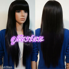 New Ladies Womens Long Black Straight Wig Natural Hair Full Wigs