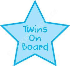 TWINS- BABY ON BOARD BLUE STAR STICKER Boy Car Van Child Children Safety