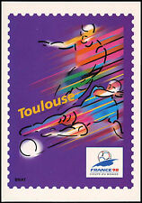 France 1998 coupe du monde de football préaffranchie CARTE MAXIMUM TOULOUSE #C inutilisés 32760