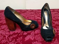 Zinc Women's Platform Heel Shoe Black Leather Suede 093 Size 8 M   ✞